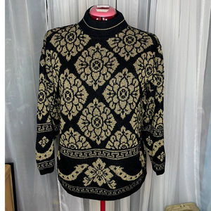 sweater 1980s gold black ugly christmas